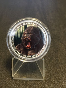 Scottsdale Mint - 5000 Francs - 1 oz 999 silver coin Republic of Congo Silverback Gorilla 2015 - colour edition