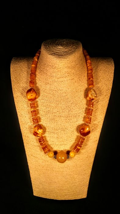 Natural Vintage egg yolk colour Baltic Amber necklace, length 62, weight 62 grams