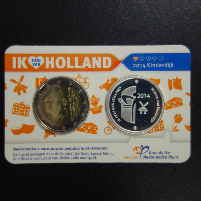 Netherlands – Holland coin card 2014 'Kinderdijk' with silver medal