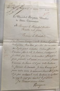 Manuscript; Letter of Catherine-Dominique, marquis de Pérignon, Marshal of France under Napoleon - 1805