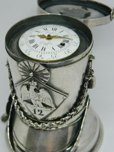 Les Freres Goyffin, Paris - an important ensemble of a pocket watch in a silver french officer 'Shako' hat - ca 1810