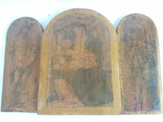 Antique lot of 3 old icons depicting the Madonna and Child on wooden board and two Saints, Italy, 20th century