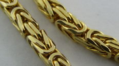 14 kt Gold king's braid link bracelet - Length: 21 cm