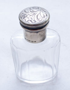 Perfume Bottle - 935 Silver - E.P - Crystal Glass - Art Deco - Austria - ca. 1920's