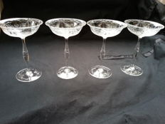 Four cut crystal glasses, first half 20th century