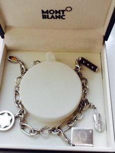 MONTBLANC - 925 Silver Charm Bracelet Star Annual - Limited Edition 2012 - diamond - (original box) – L 18 cm
