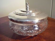 Large cookie jar in silver 800 and crystal - 20th century