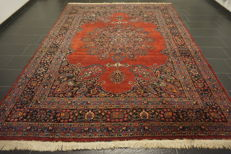 Old hand-knotted Art Nouveau Persian Palace carpet Mashhad 252 × 337 cm. Made in Iran.