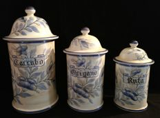 Set of 3 ceramic pots with lid, Antique Pharmacy, decorated and hand painted