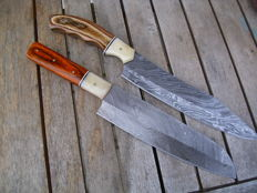 Ultimative set of two verry, verry sharp asian kitchen knives best Damast steel, 275 - 374 layers Damast steel