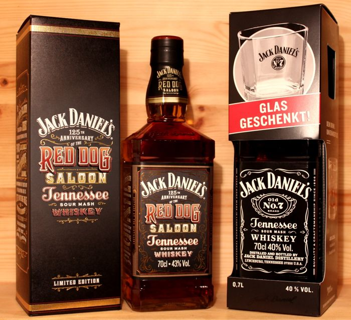 2 bottles - Jack Daniels 125th Anniversary of the Red Dog Saloon & Jack Daniels Old No 7 with Glas, 2017 Edition, 2x700ml