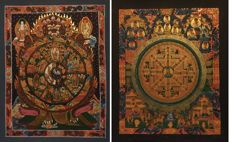 Two Hand Painted Thangka paintings, Wheel of life & Buddha Mandala- Tibet/Nepal - 21st century