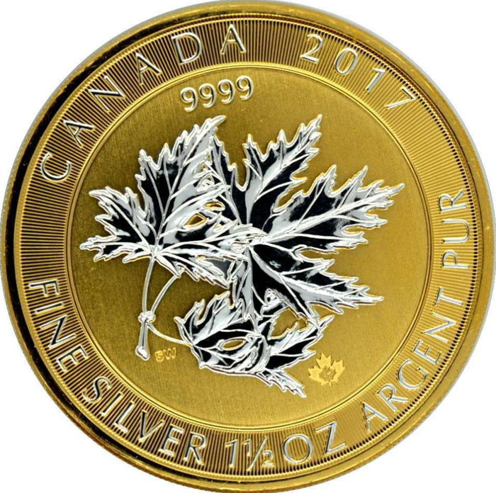 Canada – 8 dollars 2017 'Multi Maple Leaf Superleaf' adorned in gold – 1½ oz silver