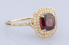 18k Yellow gold and 2.91  fine red natural garnet set with 0.37ct. diamonds