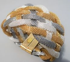 Signed KENNETH JAY LANE - Silver and gold plated Mesh Bracelet