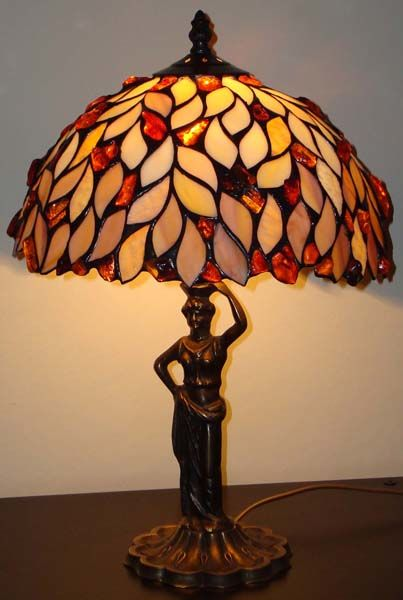 Handmade Amber lamp , incl. certificate, 45 cm height