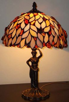 Handmade amber lamp, certificate included, height 45 cm