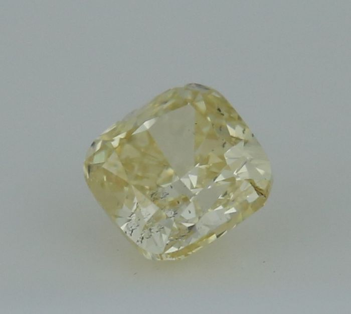 0.38 ct. Square Cushion Modified Brilliant Natural Diamond -  Fancy light yellow - I 1