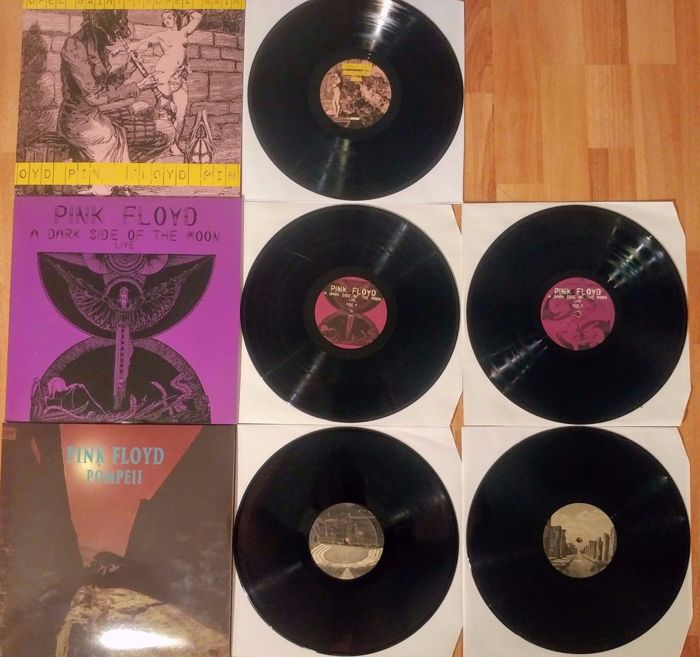 Pink Floyd Live: Live in Saint- Tropez, August 1970 1 LP & A Dark Side Of The Moon Live in Wembley 1974 2 LP & Pompeii Live 2 LP - tot 5 LP