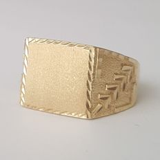 18 kt yellow gold signet ring - Size: 19.4 mm 22/62 (EU)