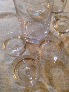 Vintage French Cristallin 6 small shot Champagne coupes & ice bucket with lid