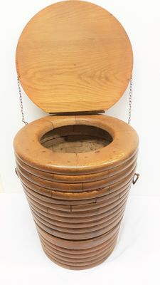 Antique solid wooden potty pot chair - The Netherlands - early 1900