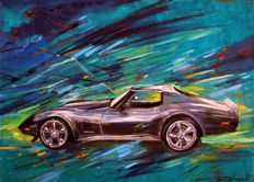 Pawel Korczynski - original painting - Oil on canvas - Chevrolet Corvette C3 - 50 x 70 cm