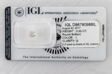 0.55 CT Round Brilliant Cut  I  I2