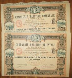France - Oriental Maritime Company Evaux & Cie - DECO Aktie Share 100 Francs 1914 - shipping and train vignettes - Lot of 2