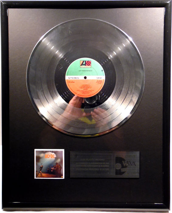 """AC/DC - Let there be rock - 12"""" Atlantic Records platinum plated record by WWA Awards"""