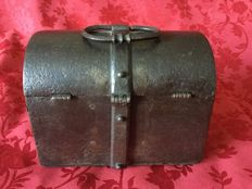 Antique small treasure chest in forged iron with secret compartment - France -16th/17th century