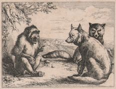 Eugène Joseph Verboeckhoven ( 1798 -- 1881 ) - The Wolf and the Fox pleading with the Monkey - Ca. 1830