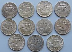 Portugal - Republic - Collection – 5$00 – SILVER 1932, 1933, 1934, 1937, 1940, 1942, 1943, 1946, 1947, 1948, 1951 (11 Coins)