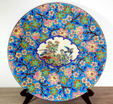 Longwy Art Deco Enamel - Large flat plate, decorated with apple blossom - Hand enhanced by Nadia Finco