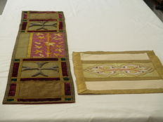 Two old pieces of altar robes of silk and brocade - Belgium - late 19th century.