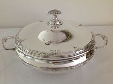Silver plated, round, beautifully decorated serving tray with decorative knob