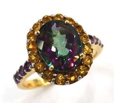 14CT yellow gold, topaz, citrine & amethyst ring