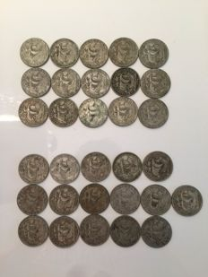 Portugal -- Lot of 31 × 10 escudo coins from 1954 to 1955