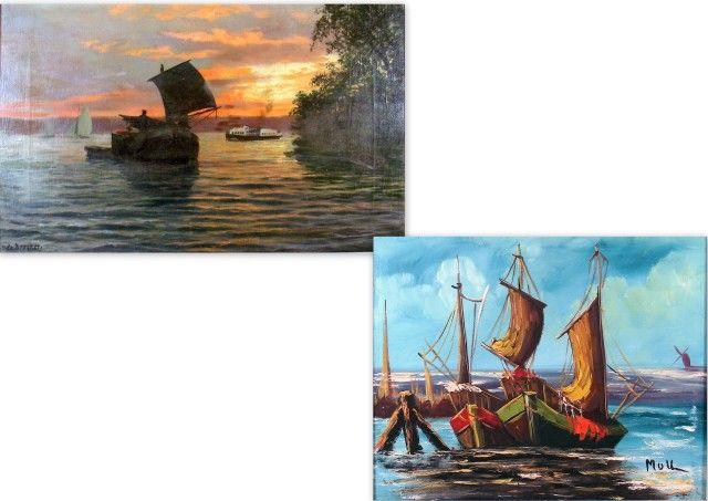 Two paintings with a maritime theme.