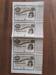 State of Louisiana Baby Bonds, uncut sheet of 4 bonds. 1875 / 76  (red number)