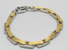 White and yellow gold Italian design bracelet - 2 sapphires