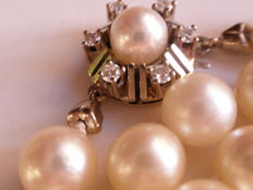 Akoya cultivated pearl neckalce 7.3mm clasp 585 white gold