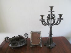 Art Nouveau - silver plated copper planter, bronze-coloured metal candle holder and silver plated metal photo frame - Germany - 1st half 20th century