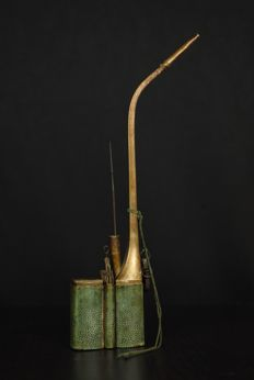 Opium pipe with stingray skin - China - circa 1920