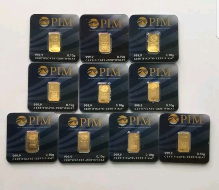 10x gold bar 0.1 g pure gold 999/1000 24 ct 1 g with certificate ...