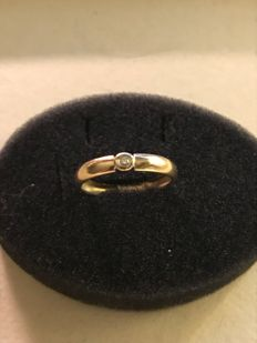 Diamond ring 585 gold finger ring ladies' - size 18.7mm