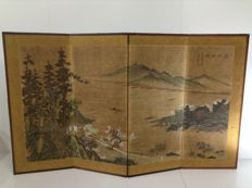 Hand-painted folding screen (Byobu), Painting on silk with landscape - China - late 20th/21st century