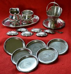 Eps cream set, silver plated bottle labels, coasters, chocolate dish, sugar bowl and teaspoon