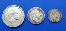 Spain – Lot of three coins Alfonso XII Philippines 50 cents of peso, 20 cents of peso and 10 cents of peso Manila
