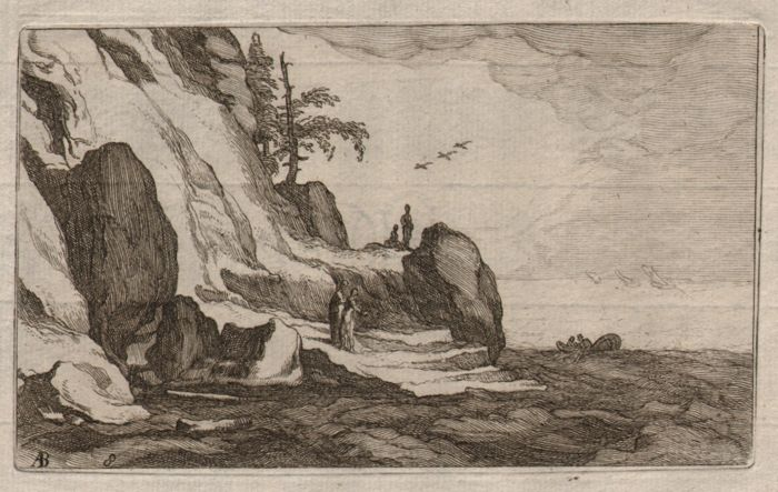 Frederick Bloemaert (1616 - 1690) - Rare coastal landscape etching after his father Abraham Bloemaert  - Ca. 1640